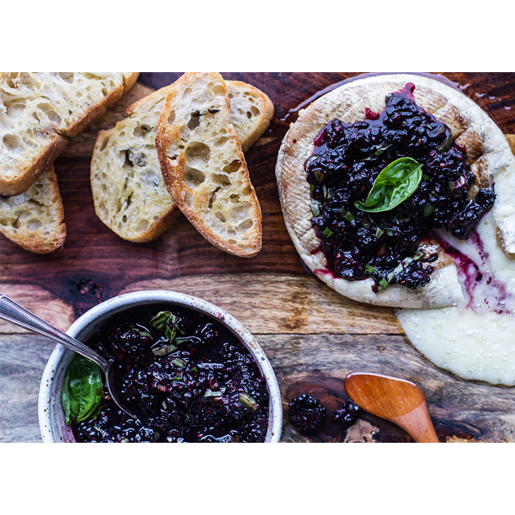 Grilled Brie with Blackberry Basil Salsa