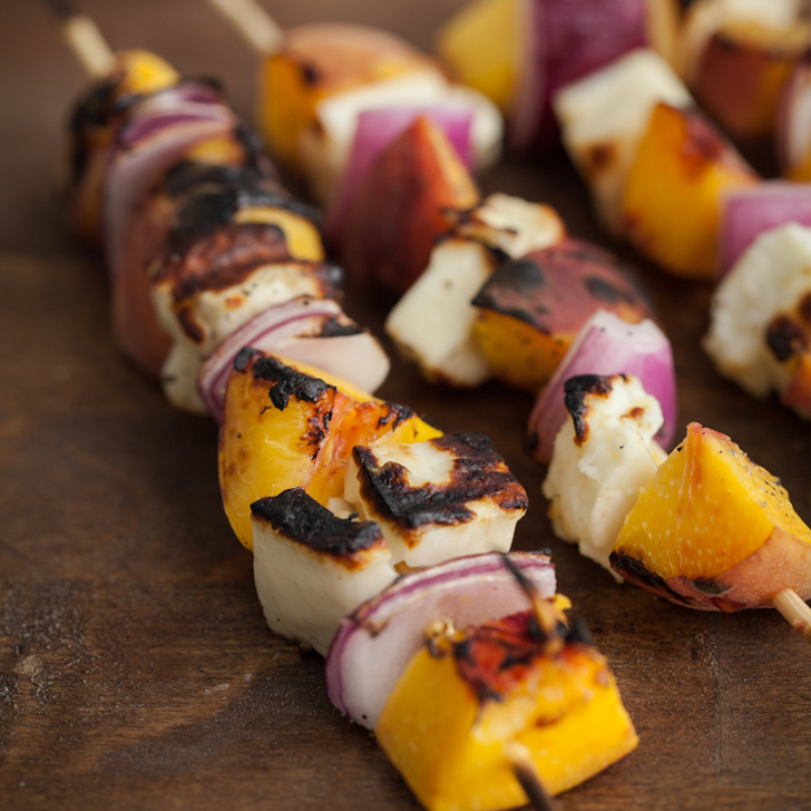 Grilled Peach and Haloumi Skewers