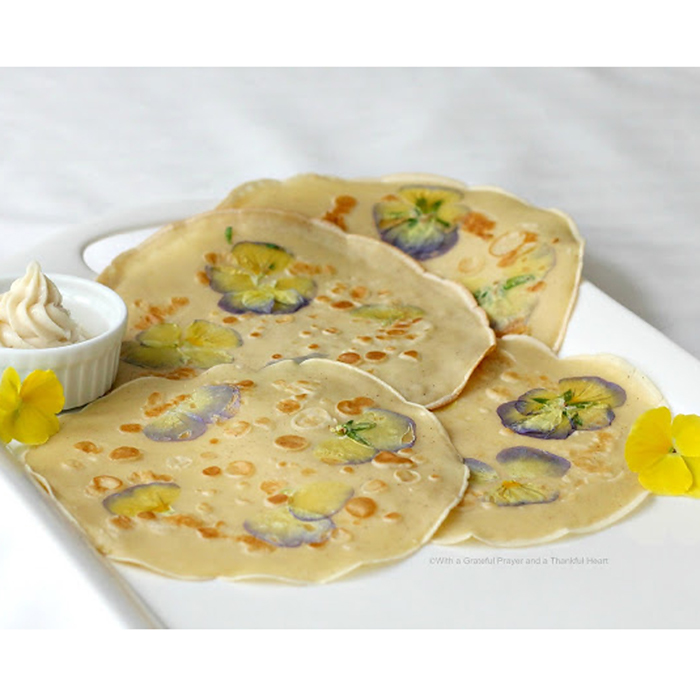 crepes, crepe recipes, pansy