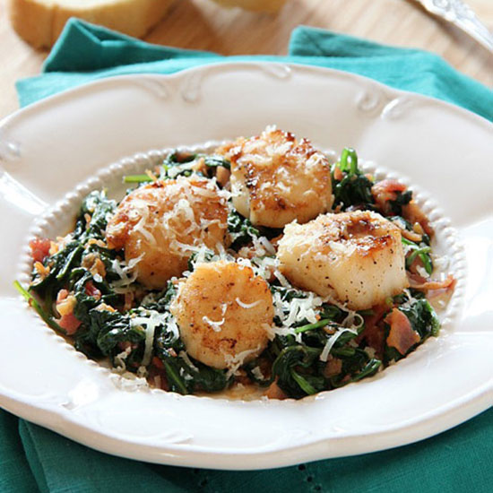 Scallops with Spinach And Bacon