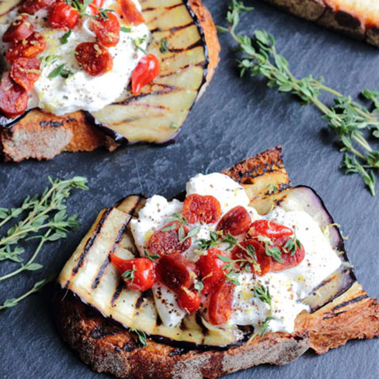 Aubergine, Chorizo and Burrata on Toast