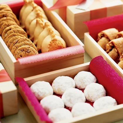 Boxes of cookies lined with paper