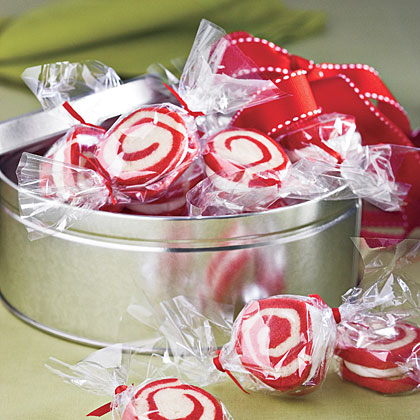 Peppermint swirl cookies in cellophane