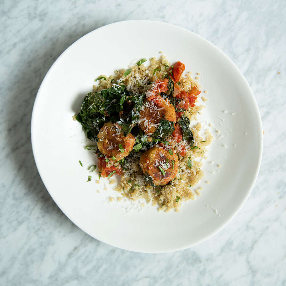 Quinoa Meatballs with Tomato Sauce and Tuscan Kale