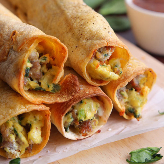 Baked Sausage, Spinach and Egg Taquitos
