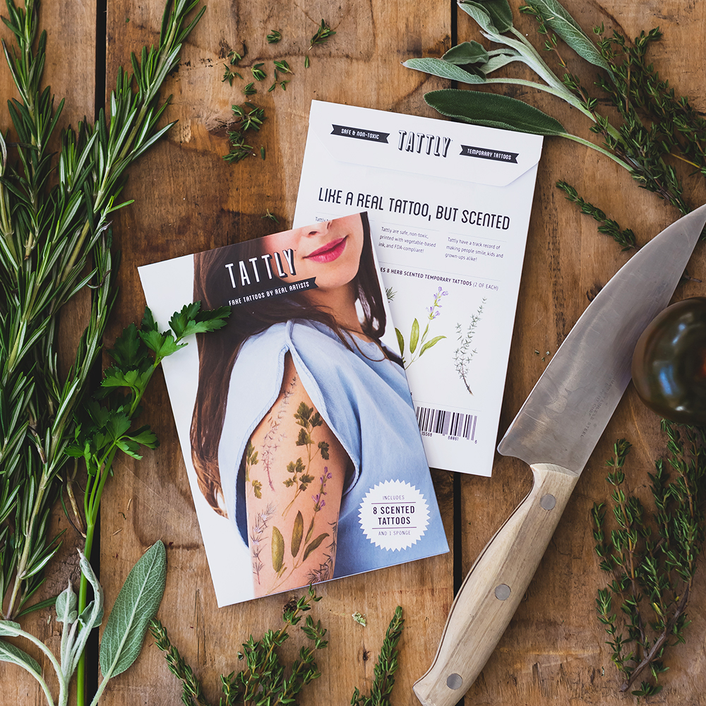 tattly spices tattoos scented packaging