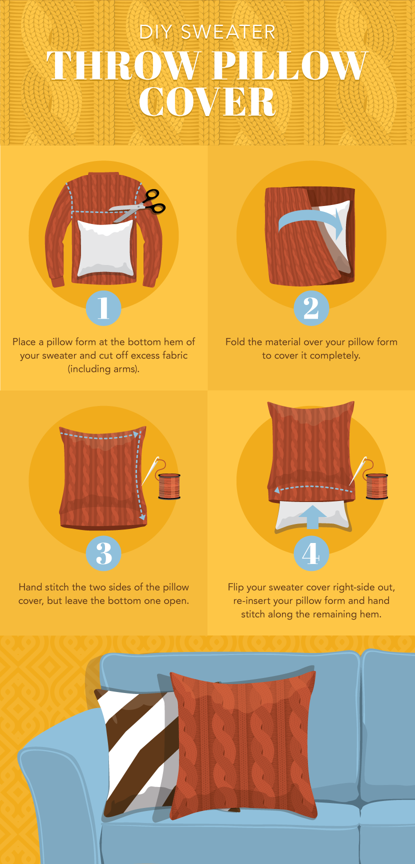 Throw Pillow - Cozy Up Your Home Décor with Upcycled Sweater Projects