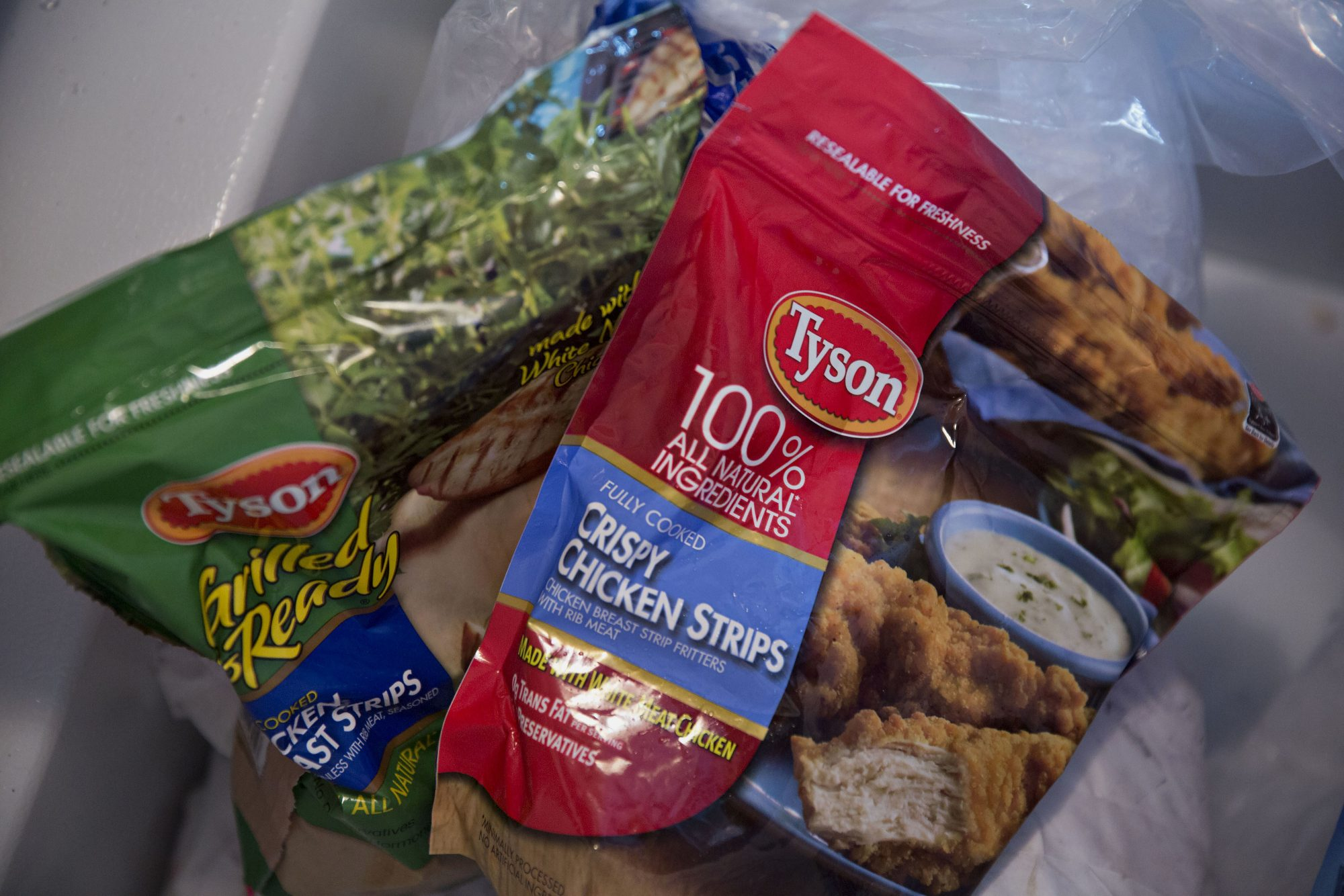Tyson Foods Inc. brand frozen chicken products are arranged for a photograph in a freezer in Tiskilwa, Illinois, U.S., on Tuesday, July 28, 2015.