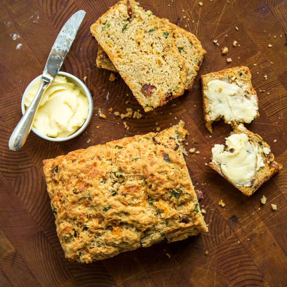 Beer Bread with Brown Ale, Cheddar and Bacon