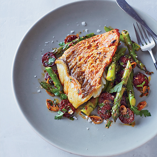 Red Snapper with Asparagus and Chorizo