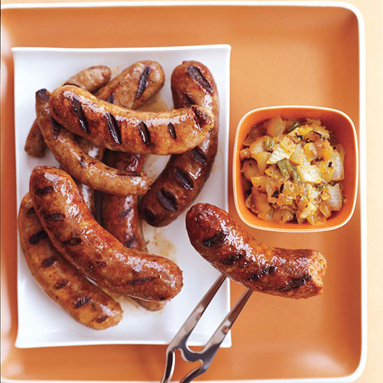 6. Sausages with Grilled Onion Chowchow