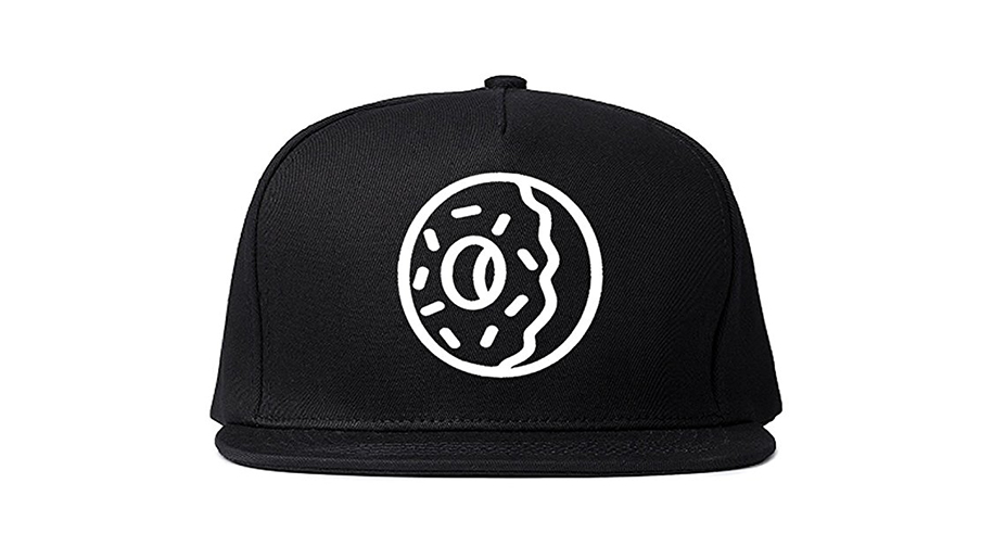 doughnut symbol on black snapback cap
