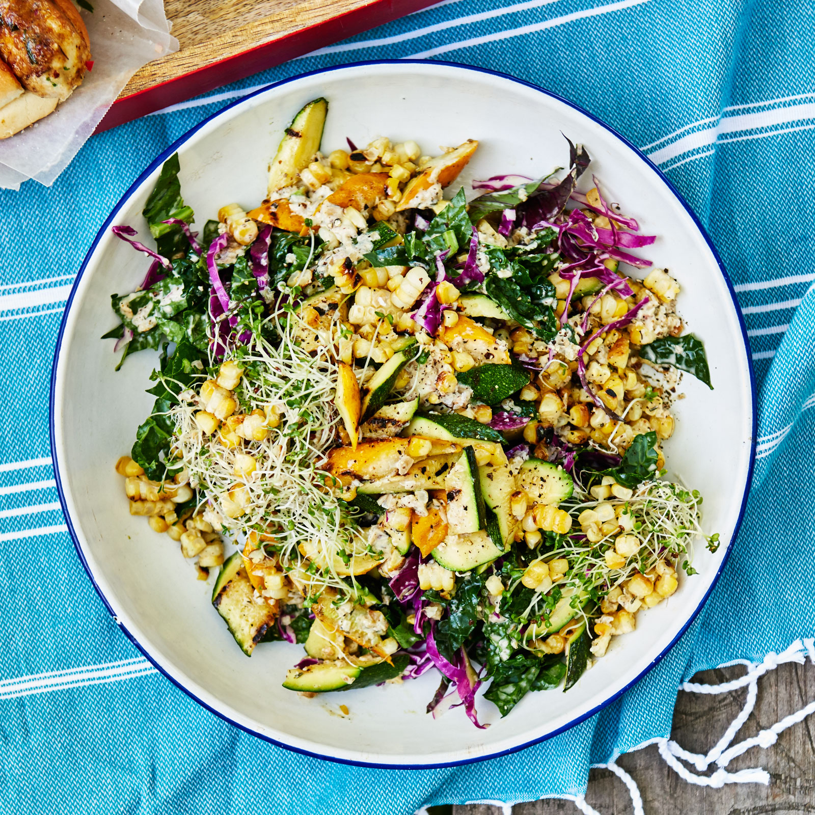 Grilled Squash, Corn and Kale Salad with Sunflower Seed Vinaigrette