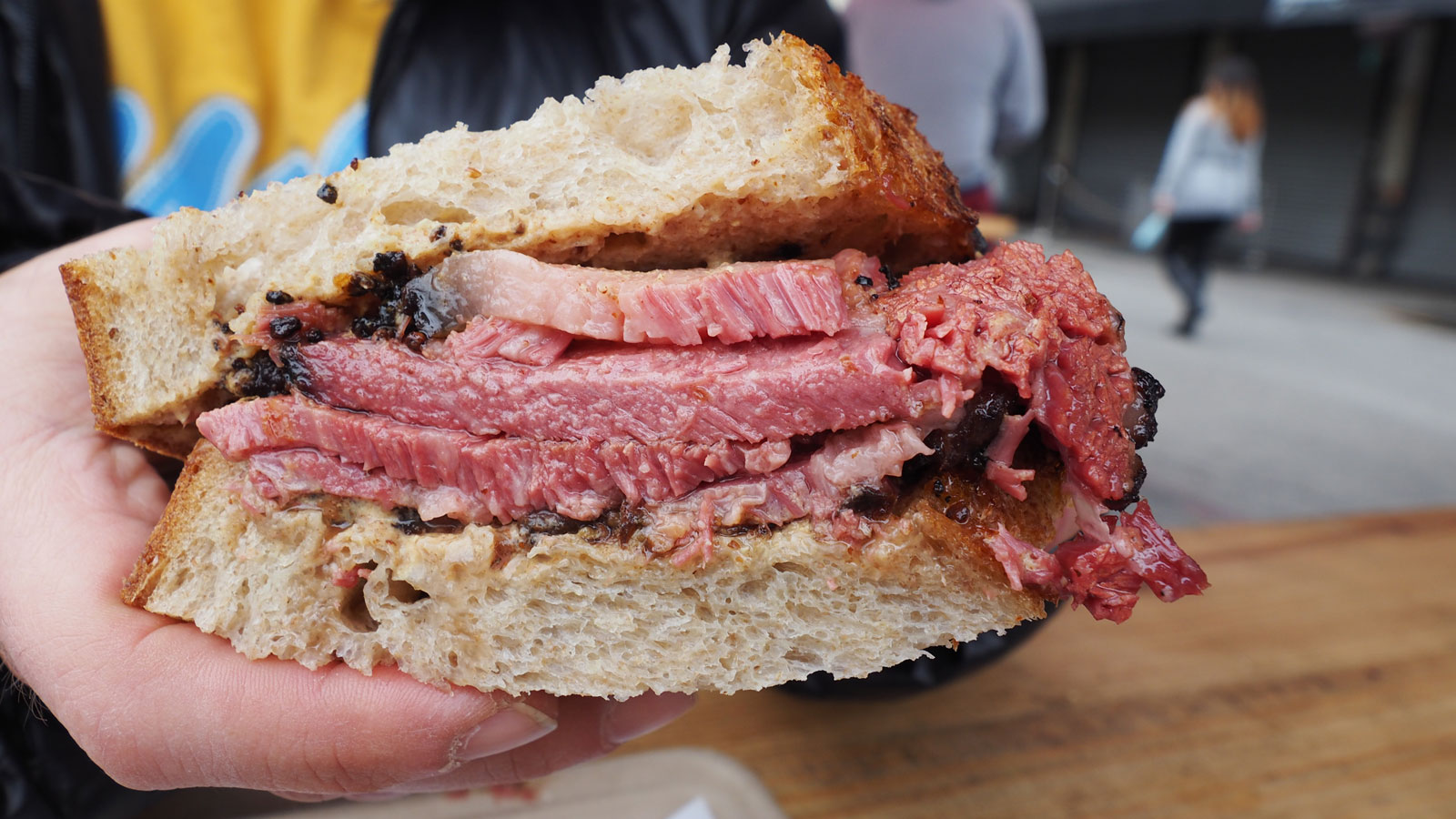 Quarter pound pastrami sandwich at Ugly Drum