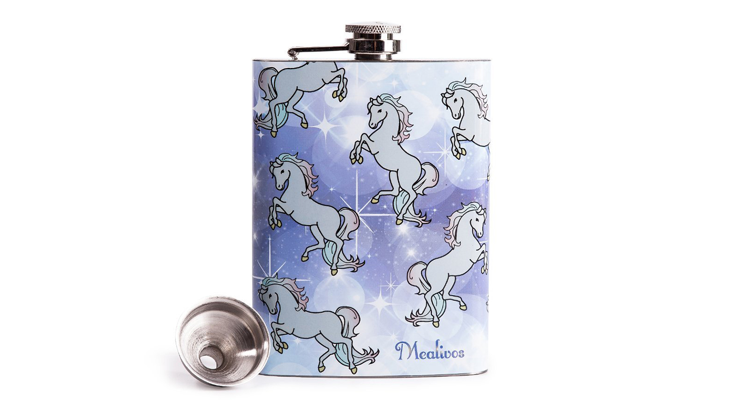 unicorn themed flask
