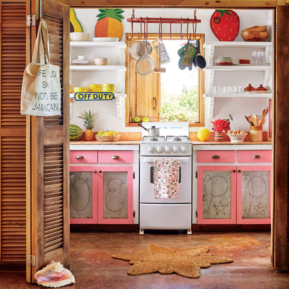 Bright pink lower cabinets