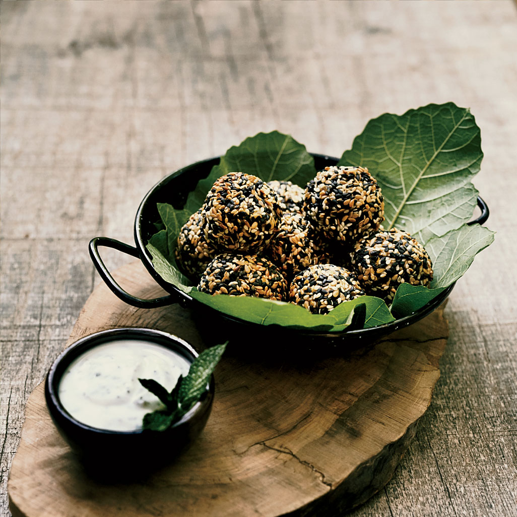 Baked Kabocha Falafel with Almond-Milk Yogurt