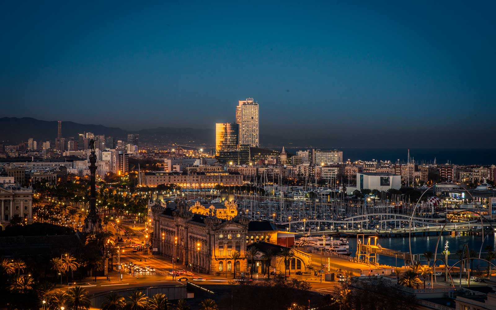 Skyline of Barcelona, Spain at night.