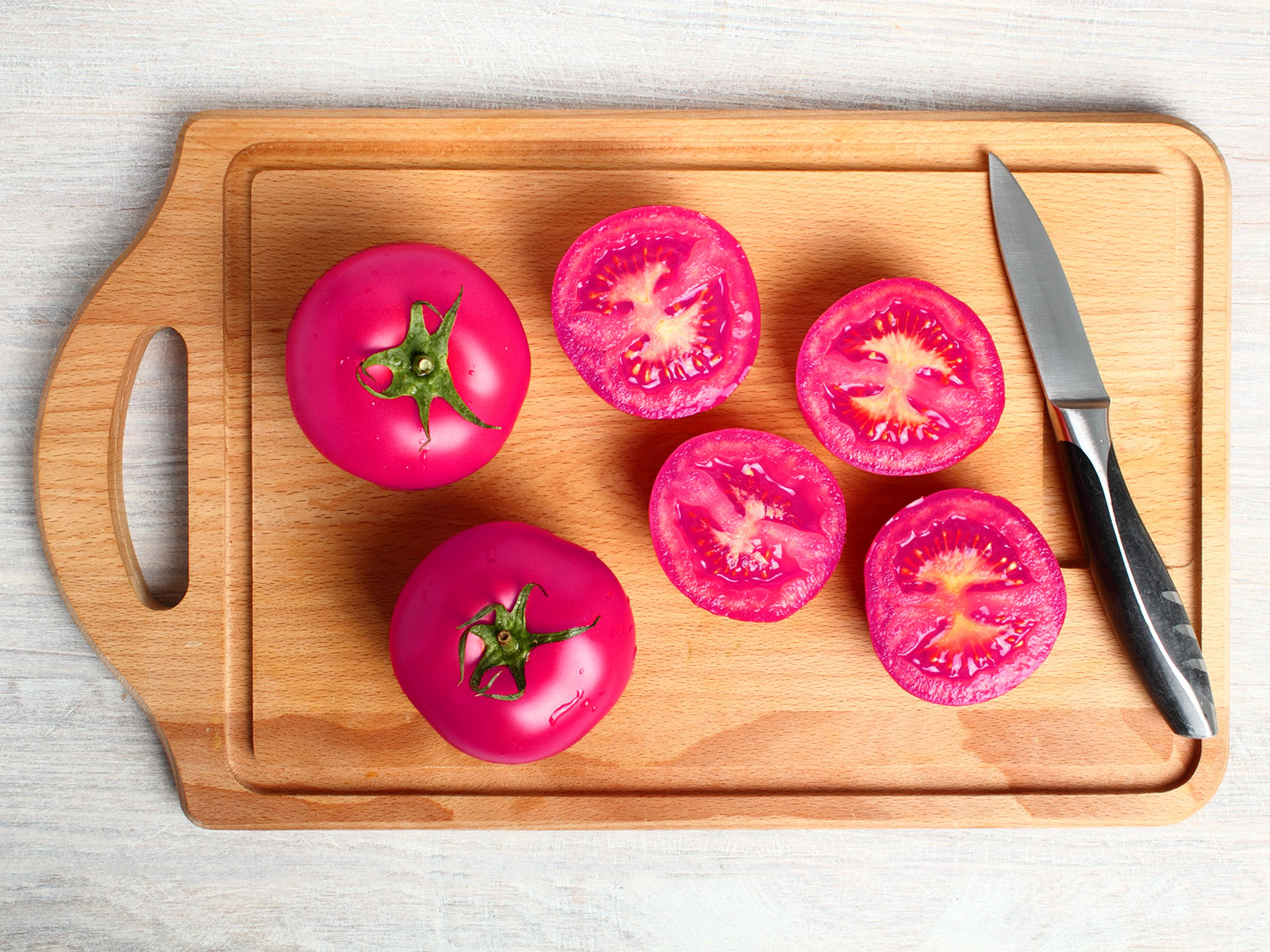 hot pink tomatoes from beets