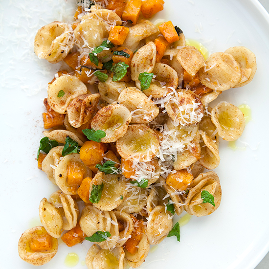 Orecchiette with Butternut Squash, Cinnamon and Mint