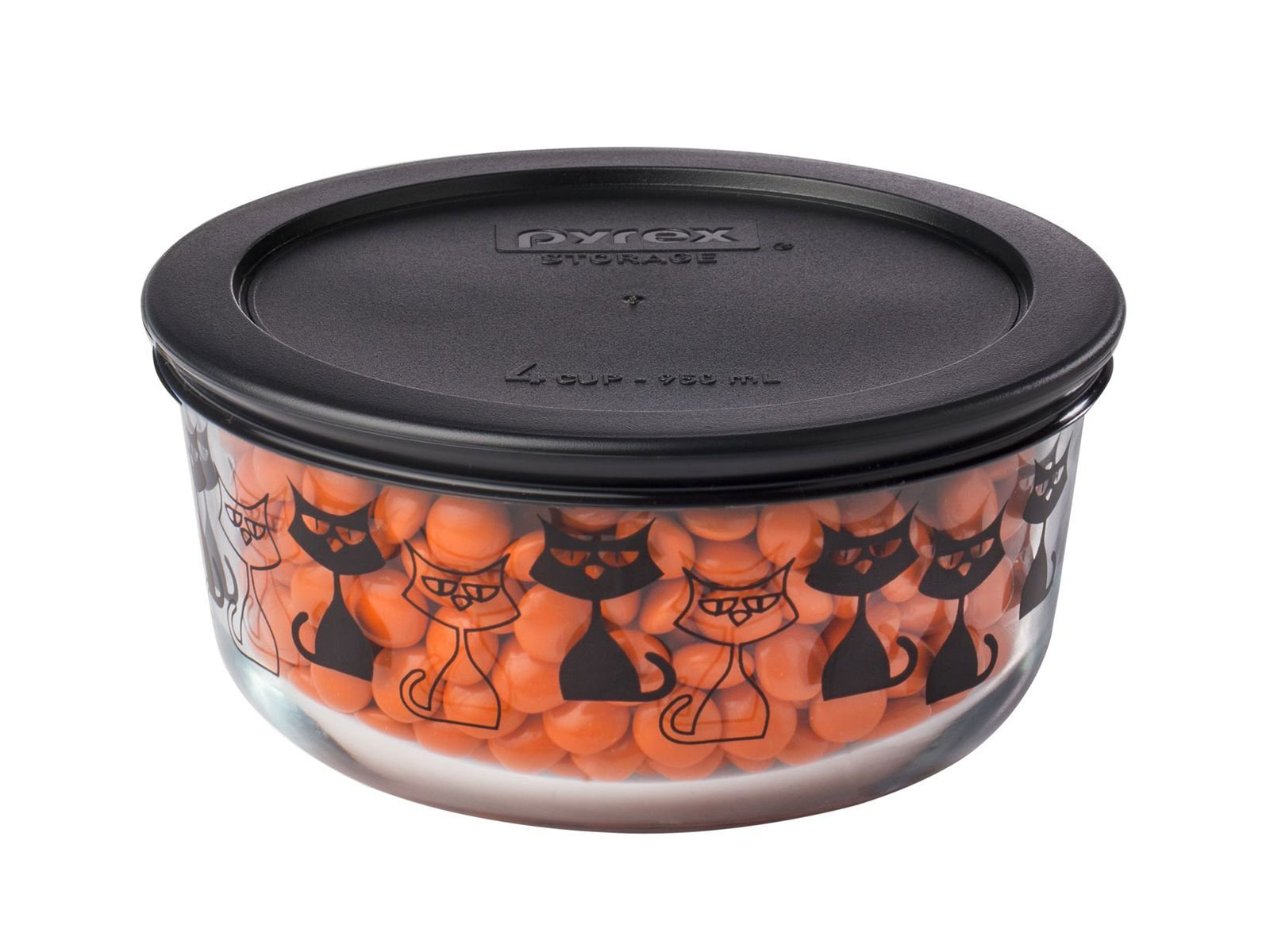 plastic containers with black cats
