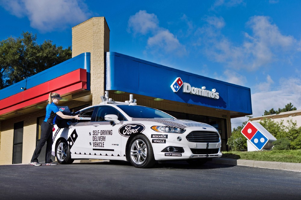 Domino's Pizza and Ford's test vehicle for self-driving deliveries.
