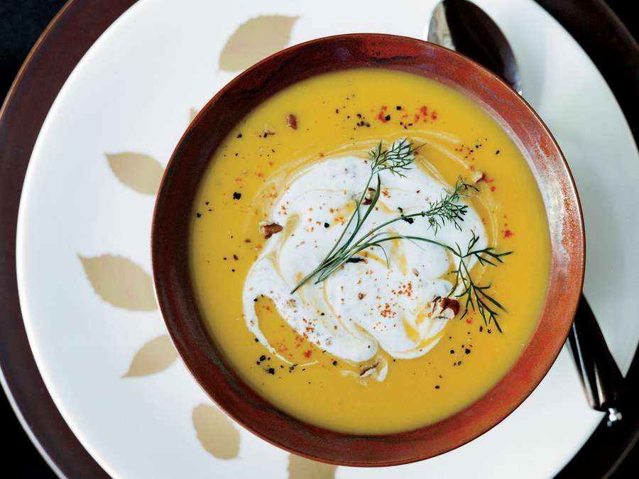 Gingered Butternut Squash Soup with Spicy Pecan Cream
