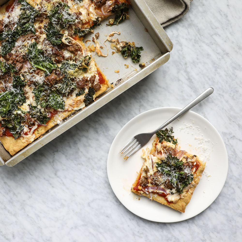 Gluten-Free Pizza with Sausage, Kale and Red Onion