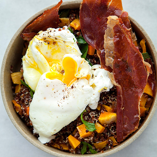 Black Quinoa with Butternut Squash, Poached Eggs and Crispy Pancetta