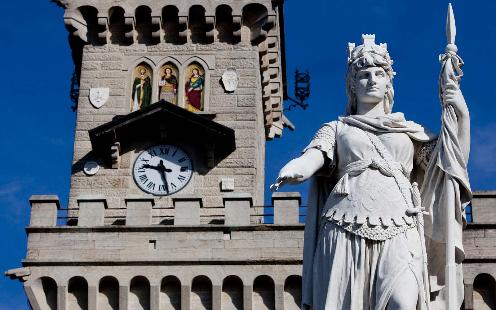A clock is seen on the Palazzo Publico, or town hall, of the Republic of San Marino