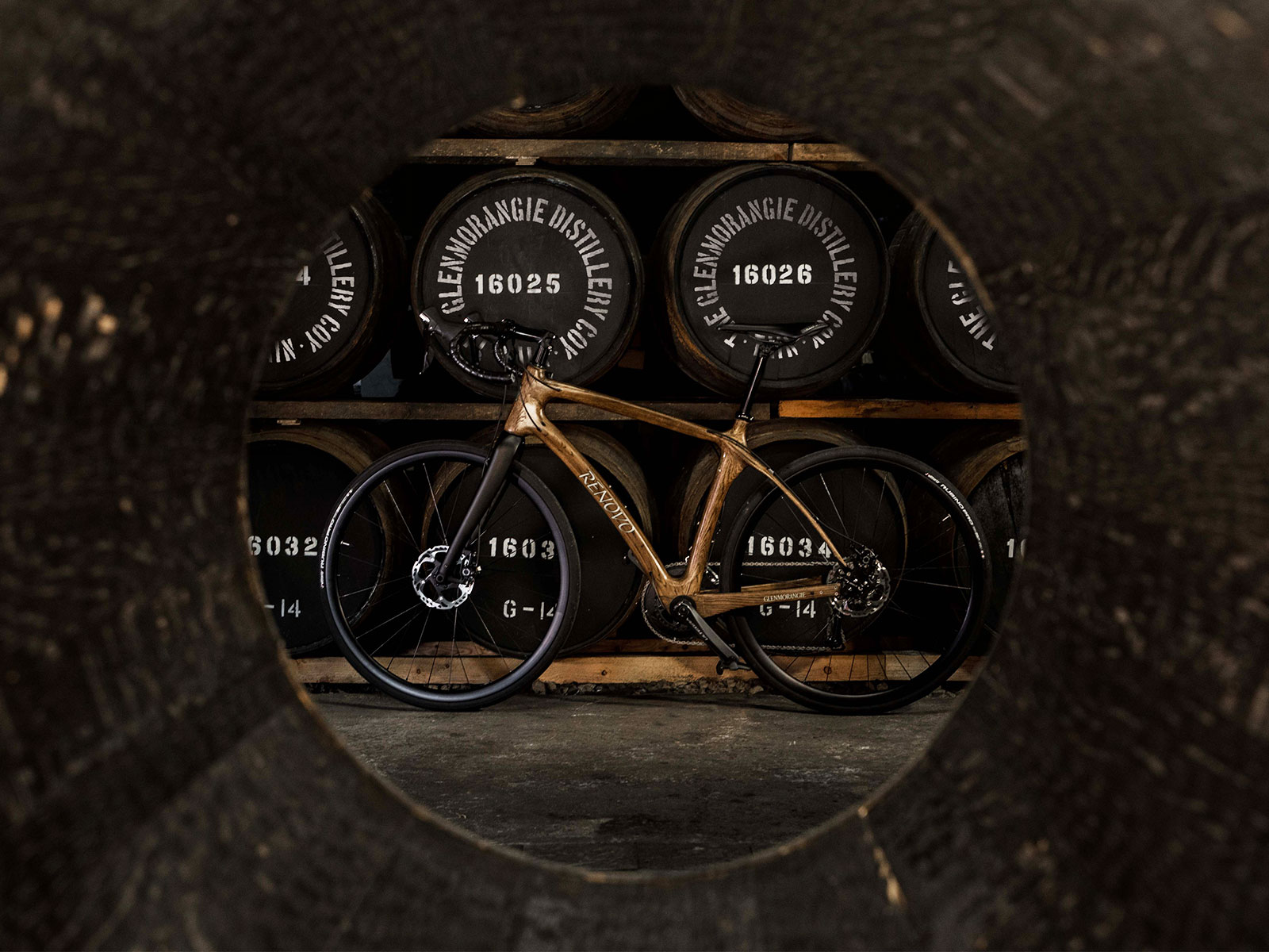 bike made of wooden whiskey barrels