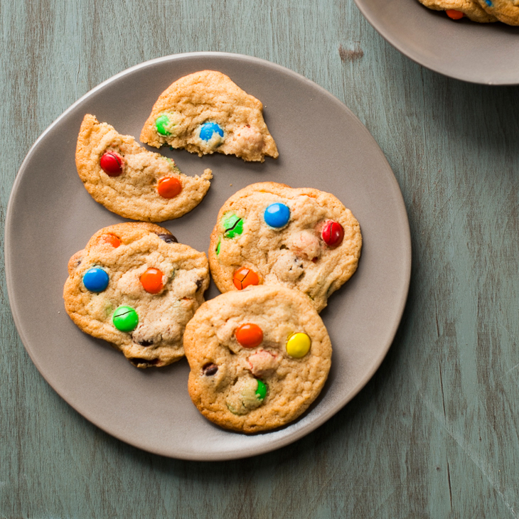 Soft and Chewy Peanut Butter Cookies with M&M's