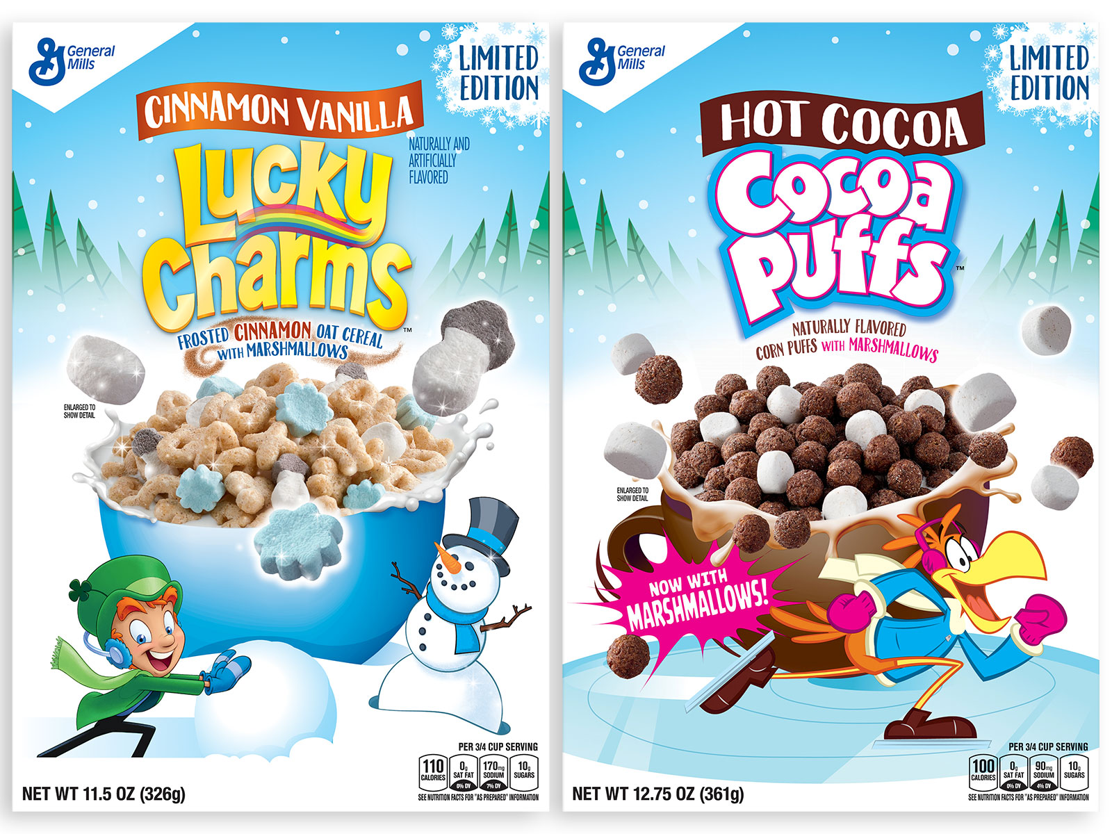 seasonal cereals lucky charms and cocoa puffs