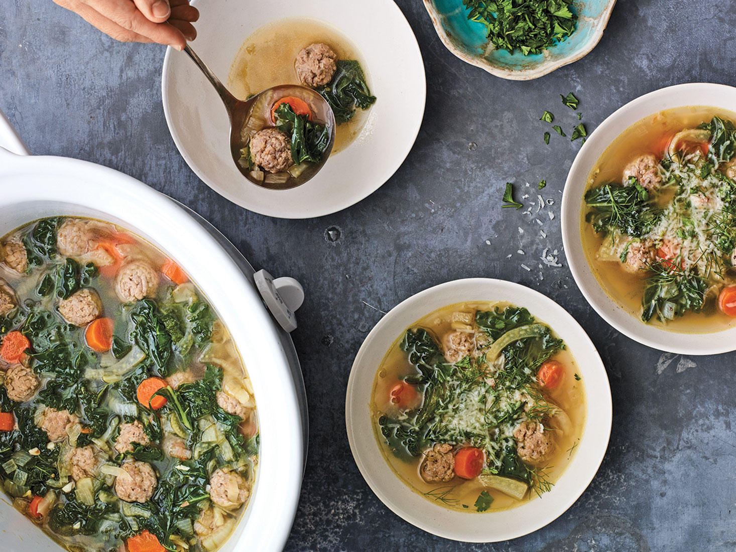 Italian Wedding Soup with Sausage Meatballs and Kale