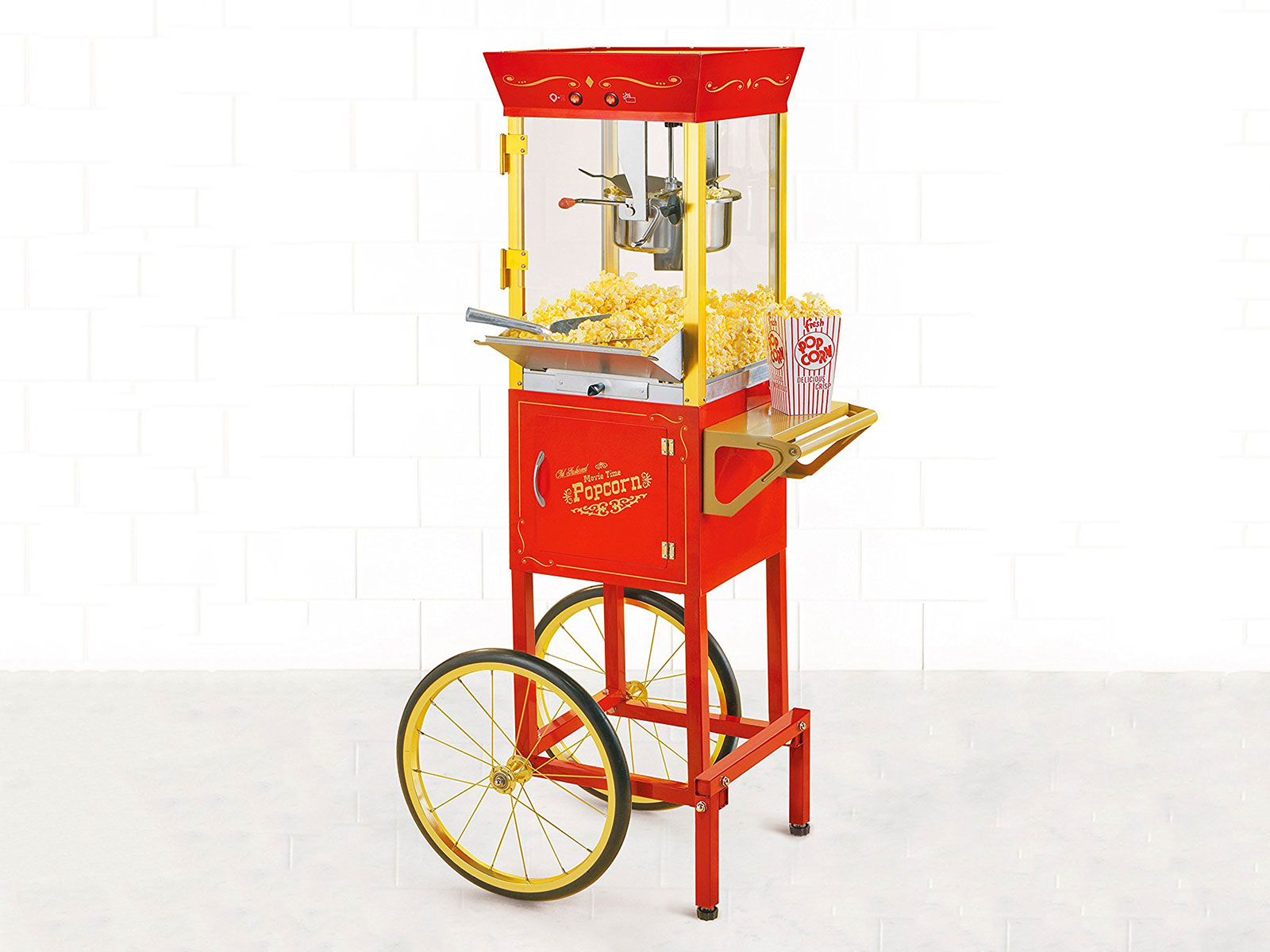 traditional popcorn maker red and yellow stand