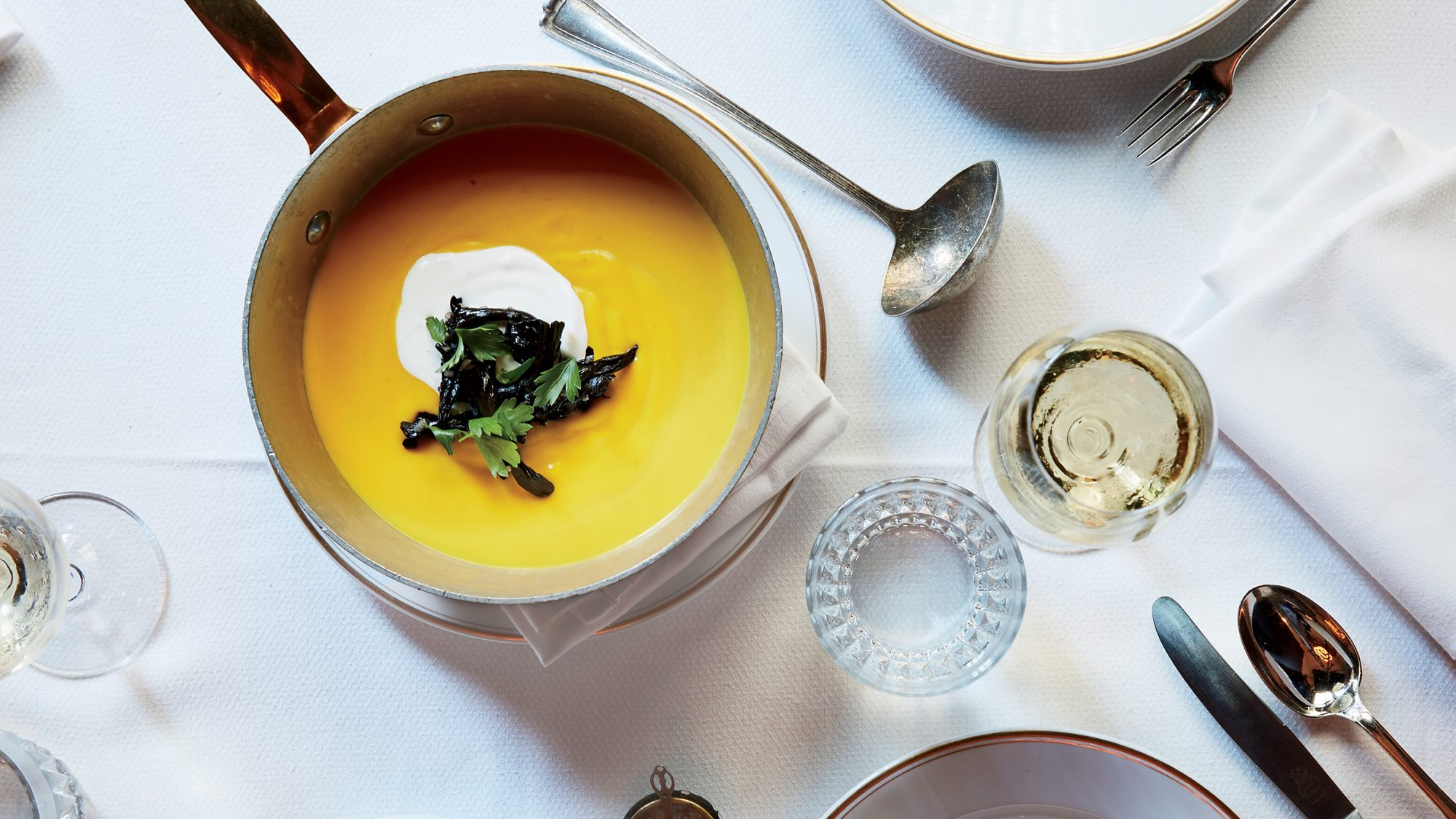 Pumpkin Soup with Trumpet Mushrooms and Sour Cream