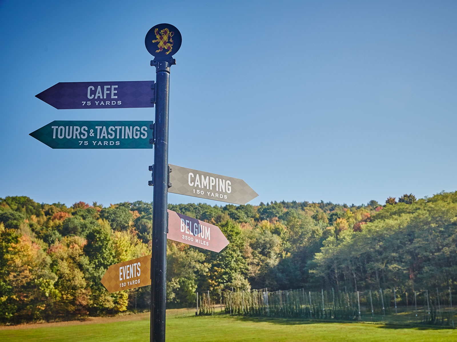 signs at the ommegang brewery in new york