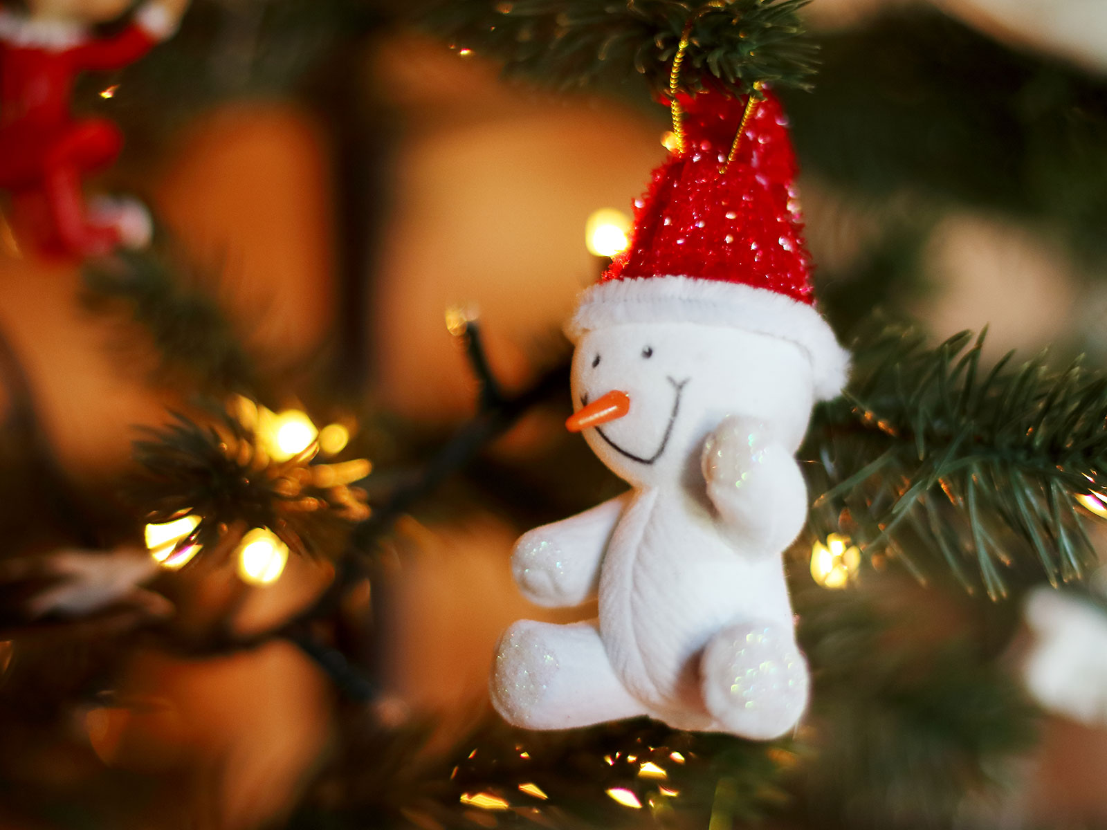 snowman ornament at holiday booth