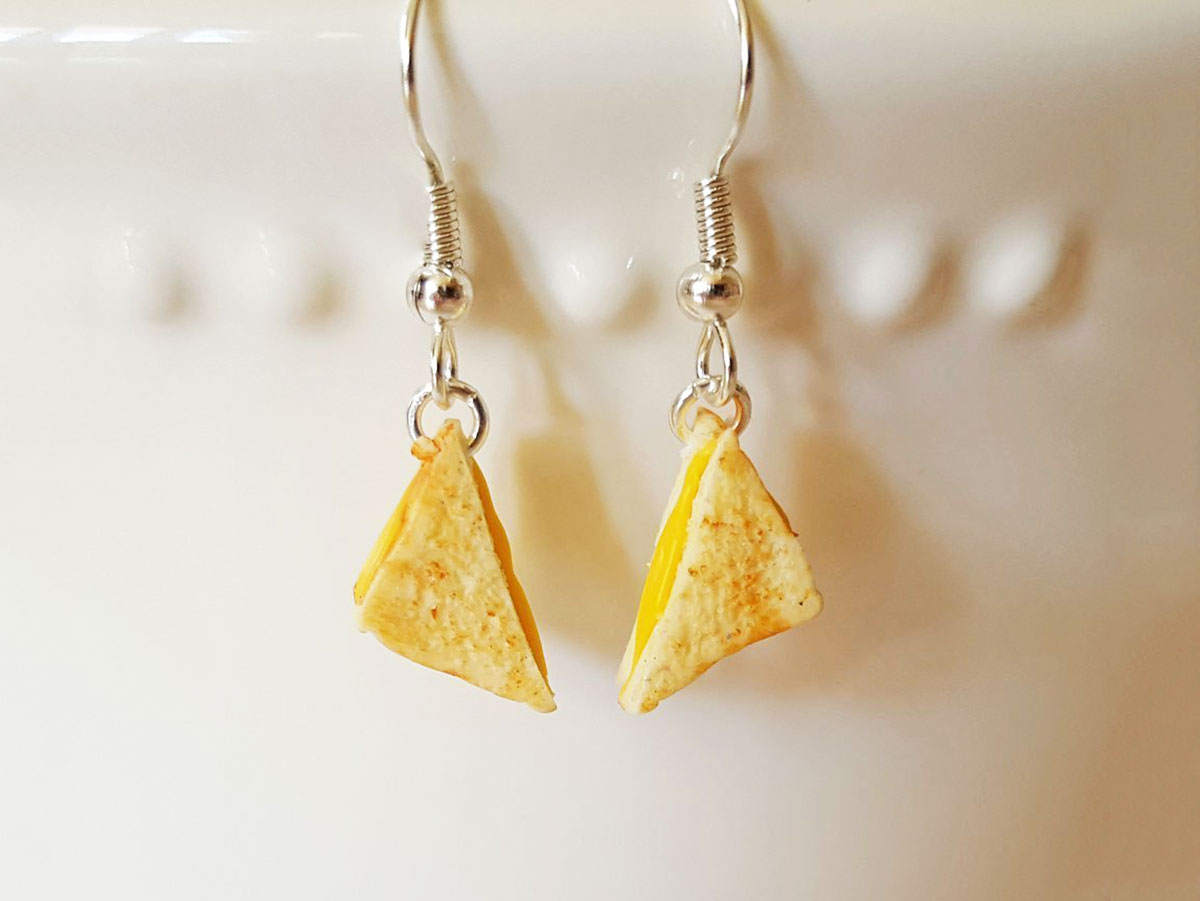 grilled cheese earrings