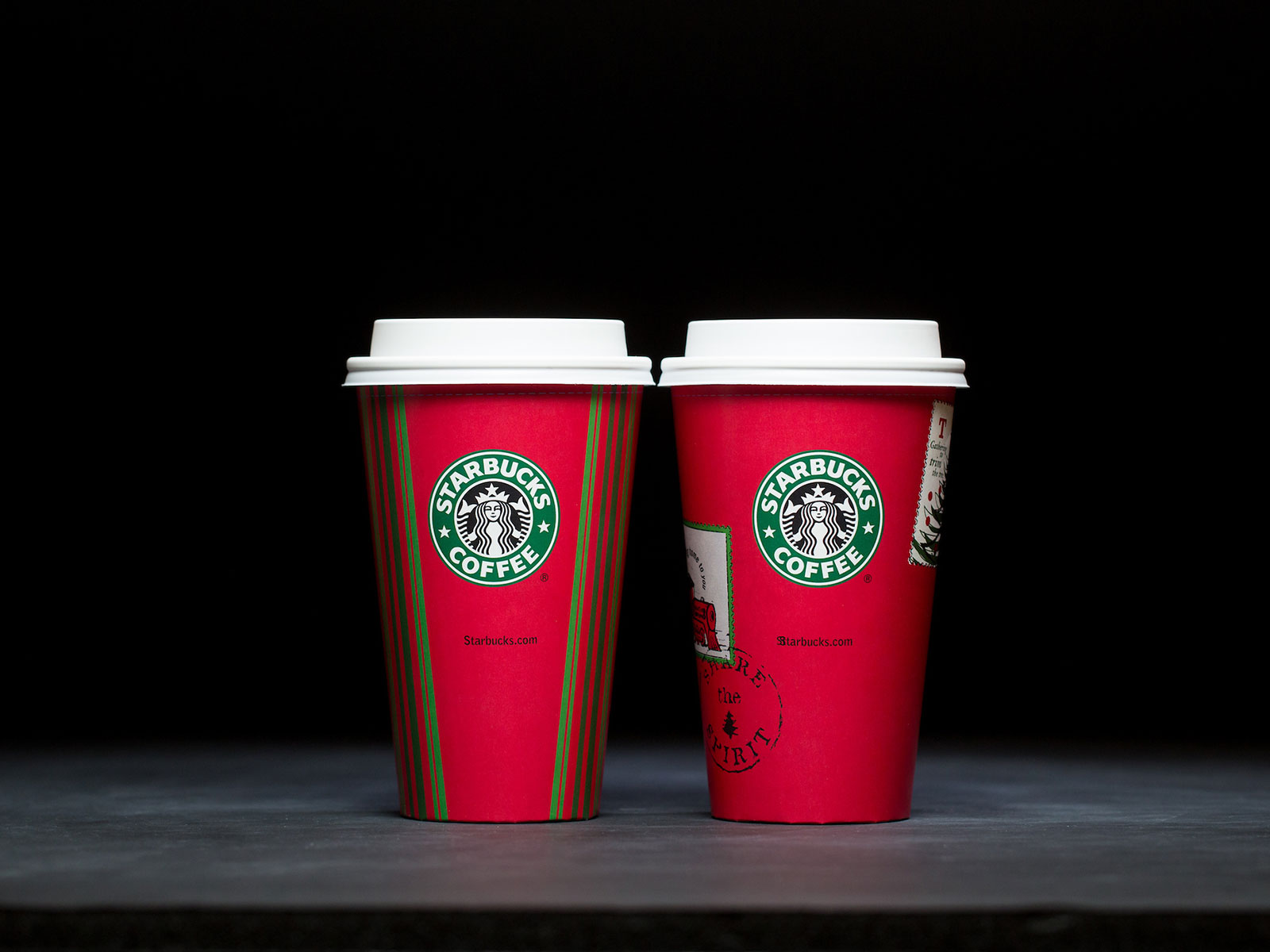 red stamp and line pattern holiday cups