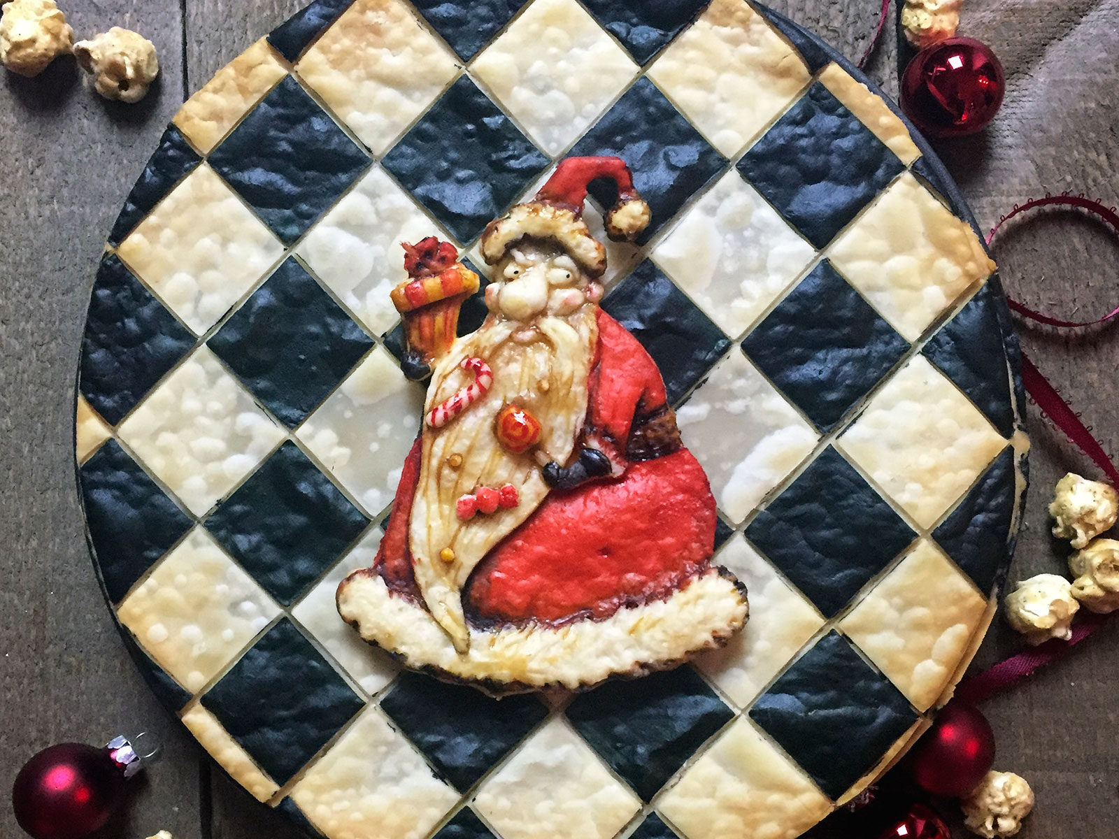 Checkerboard Santa Pie