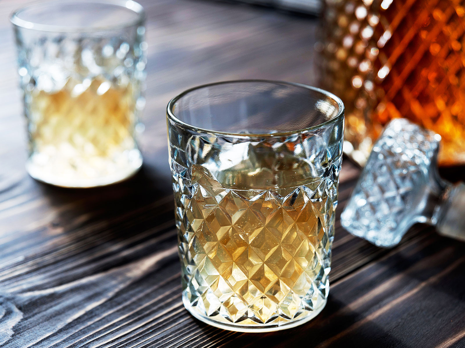 whisky decanter and glass