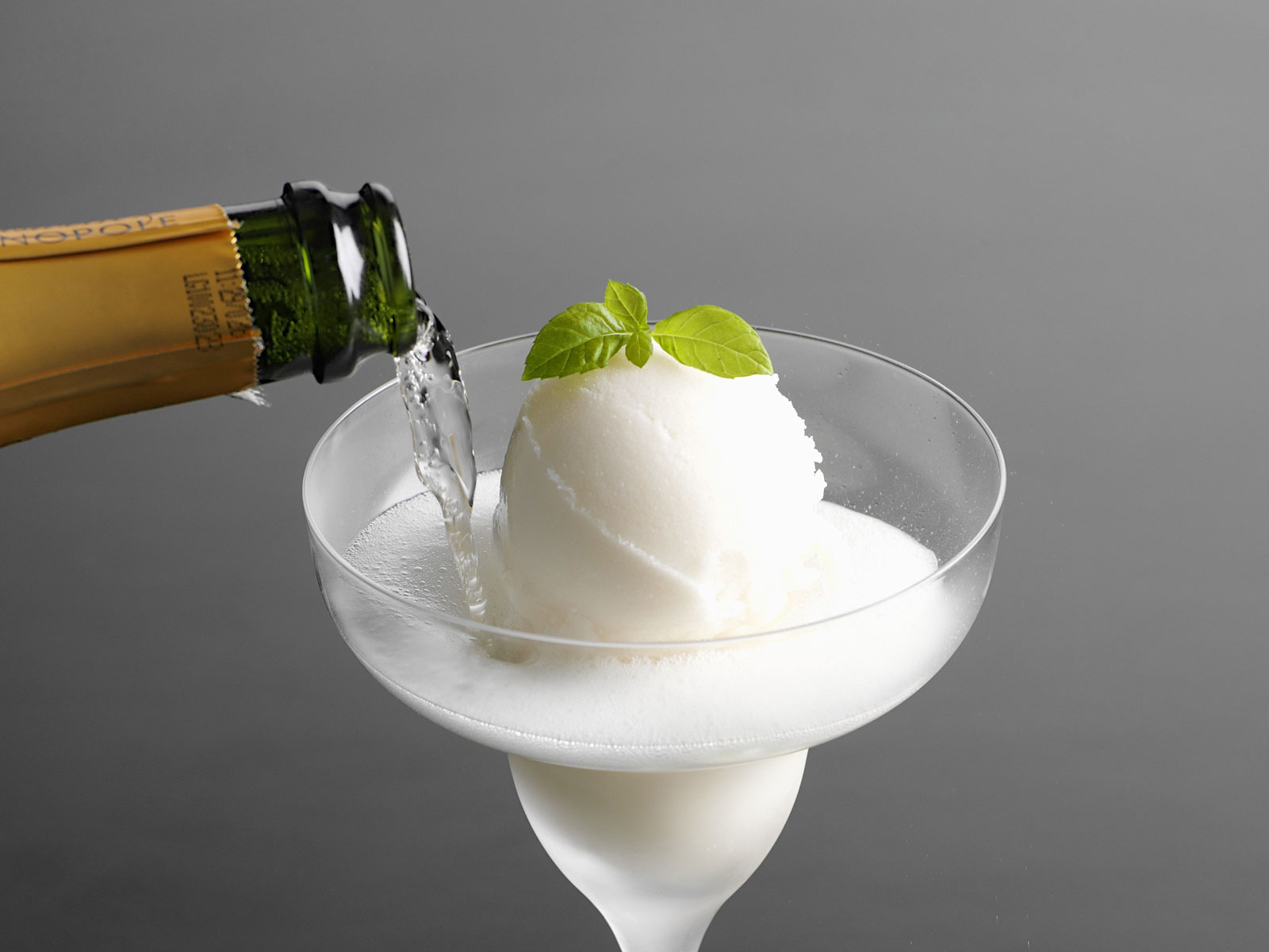 Champagne sorbet in a glass.