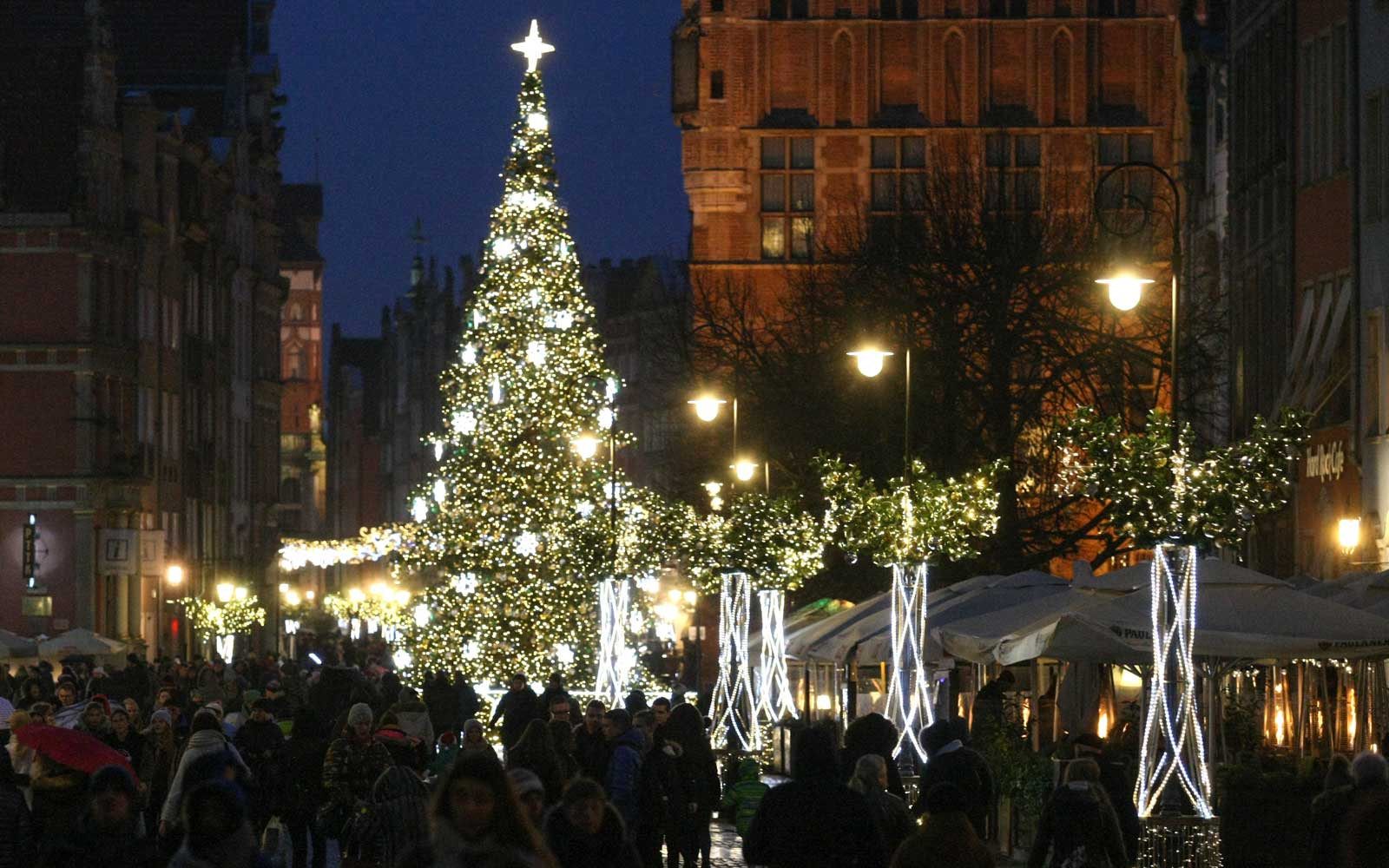 Christmas decorations in Gdansk, Poland