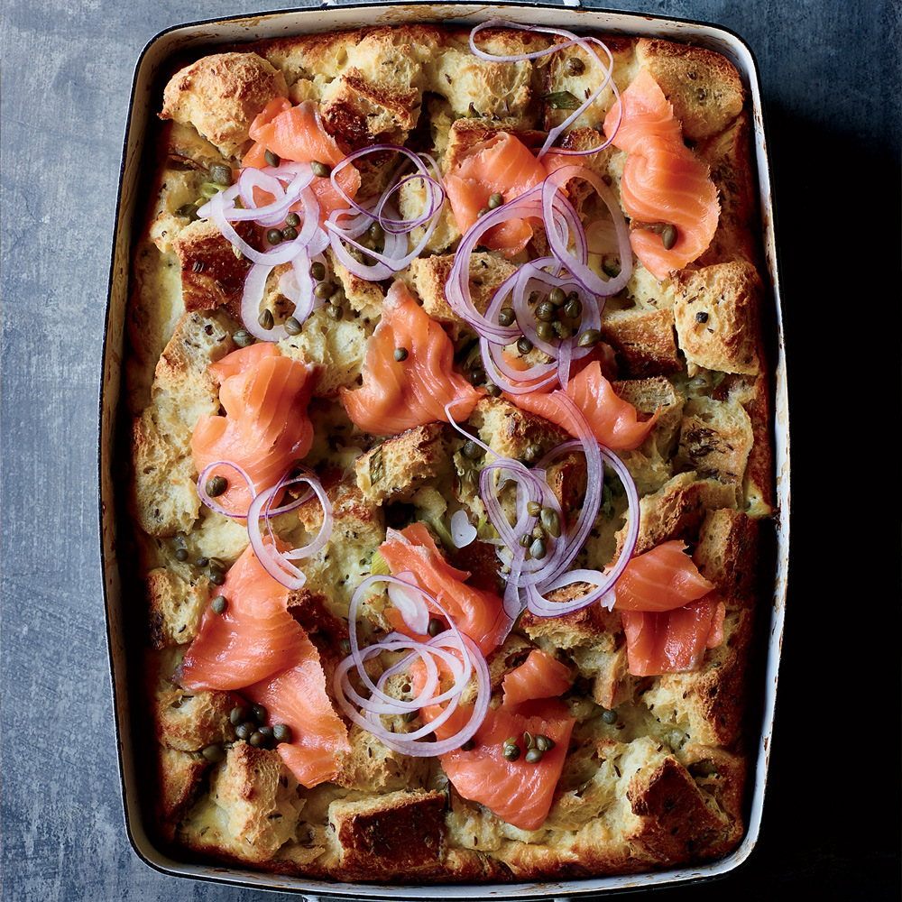 Rye and Creme Fraiche Strata with Smoked Salmon