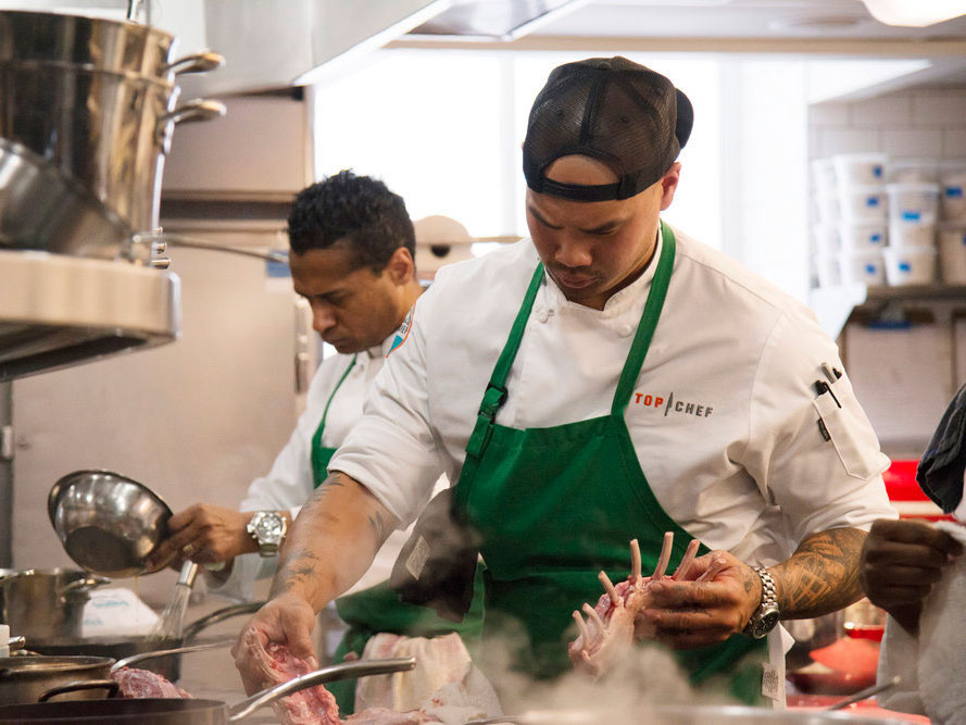 Chef Tu Phu struggles with the lamb preparation.