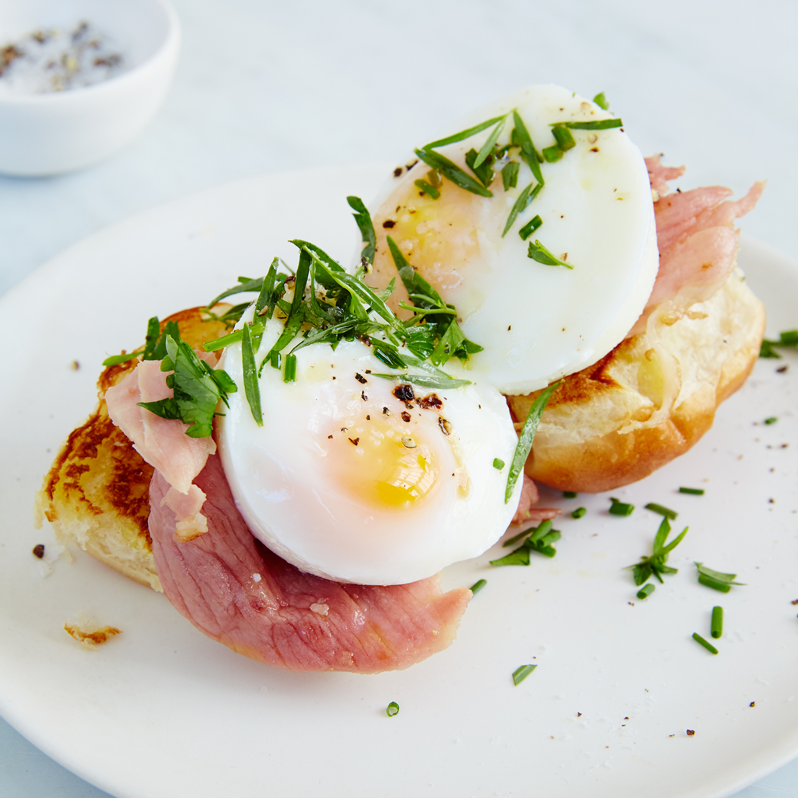 Open-Face Egg and Griddled Ham Breakfast Sandwich