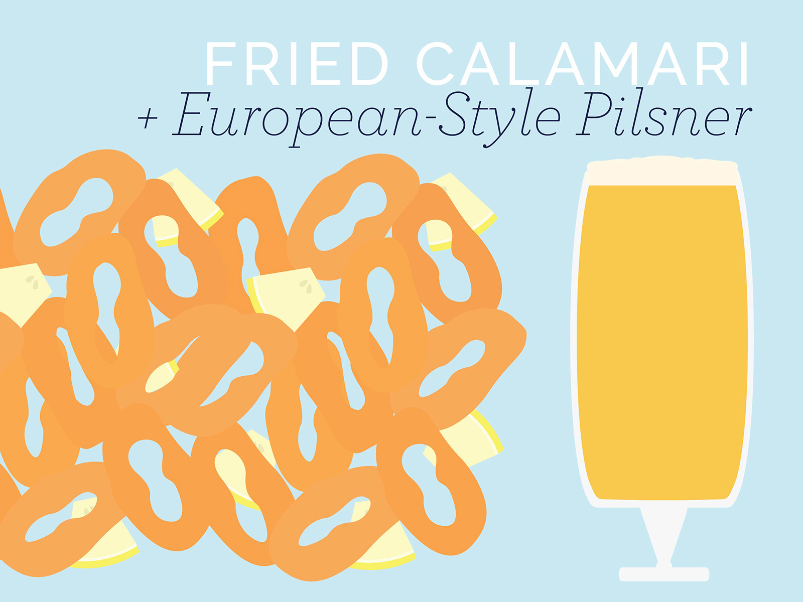 fried calamari and european style pilsner