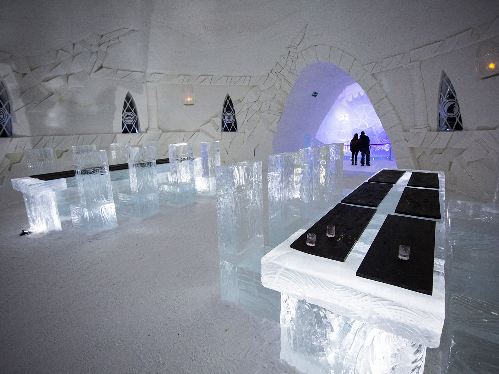 bar lounge table and seating in ice hotel