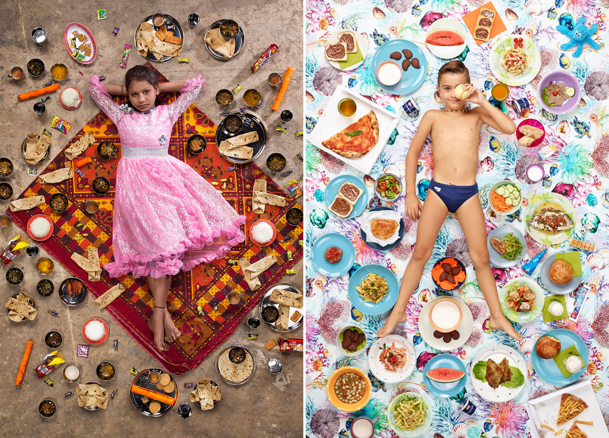 Photographer Gregg Segal traveled around the world to ask kids what they eat in one week and then photographed them alongside the food.